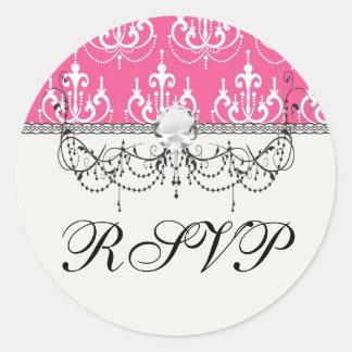 white chandelier chic pink damask round sticker
