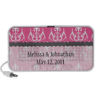 white chandelier chic pink damask wedding keepsake portable speakers