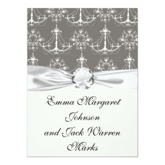 white chandelier damask on grey silver invites