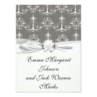 white chandelier damask on grey silver 17 cm x 22 cm invitation card
