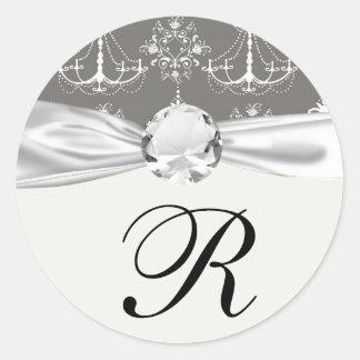 white chandelier damask on grey silver sticker