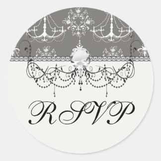 white chandelier damask on grey silver round sticker