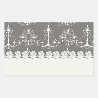 white chandelier damask on grey silver rectangular sticker
