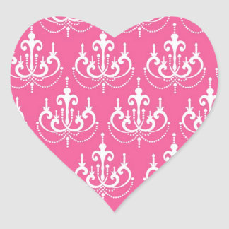 white chandelier on pretty chic pink damask heart sticker