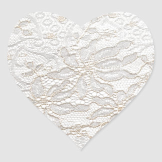 White Chantilly Lace Heart Sticker