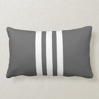 White, Charcoal Vertical Stripe Lumbar Pillow