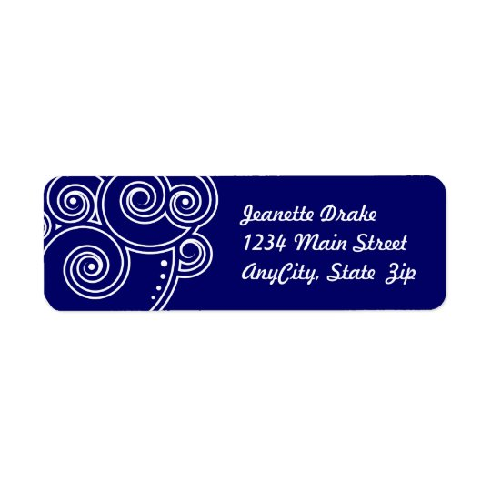 White Charming Swirls Return Address Labels