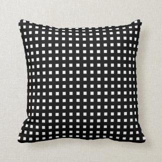 White Check on Black Retro Throw Pillow Throw Cushion