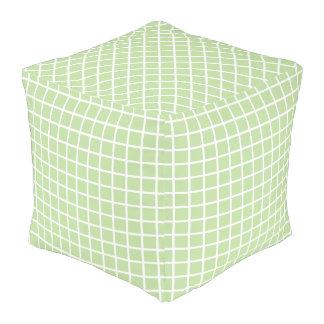 White Checks on Mint Green Pouf