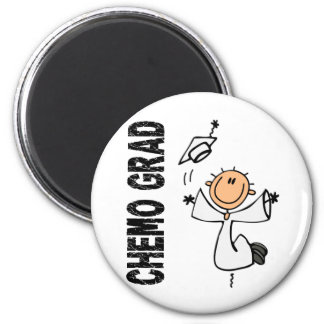 White CHEMO GRAD 1 (Bone Cancer) 6 Cm Round Magnet