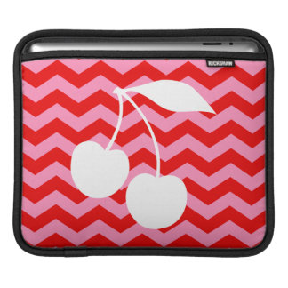 White Cherries on Red Zigzag Sleeves For iPads