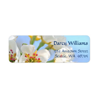 White Cherry Blossom Christian Wedding Return Address Label