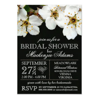 White Cherry Blossom Flowers Bridal Wedding Shower 4.5x6.25 Paper Invitation Card