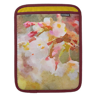 White Cherry Blossoms Digital Watercolor Painting iPad Sleeves