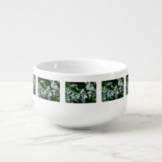 White Cherry Blossoms Green Leaves Soup Mug