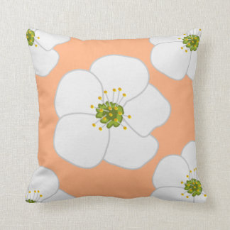 White Cherry Blossoms on Peach American MoJo Pillo Throw Cushions