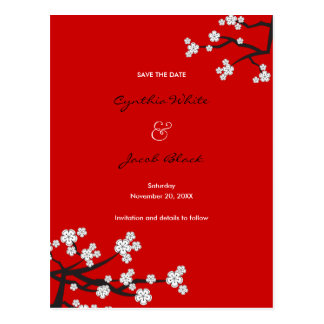 White Cherry Blossoms Sakura Asian Save The Date Postcard
