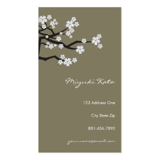 White Cherry Blossoms Sakura Spring Flowers Branch Business Card Template