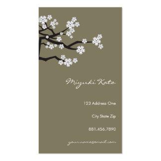 White Cherry Blossoms Sakura Spring Flowers Branch Business Card Template