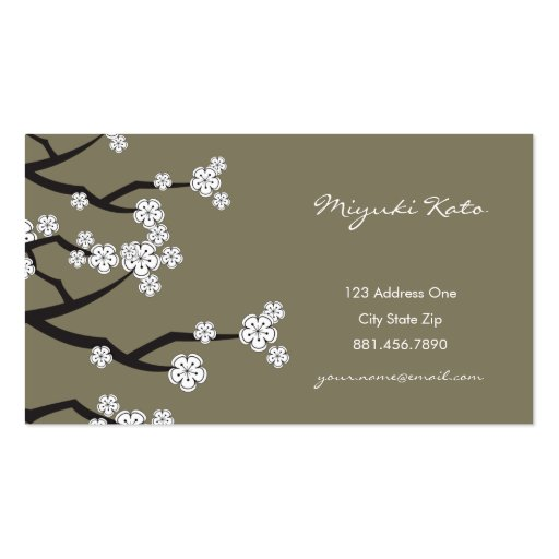 White Cherry Blossoms Sakura Spring Flowers Branch Business Cards