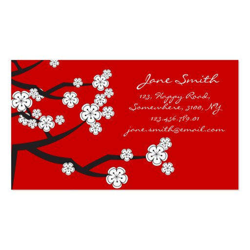 White Cherry Blossoms Sakura Spring Flowers Branch Business Card