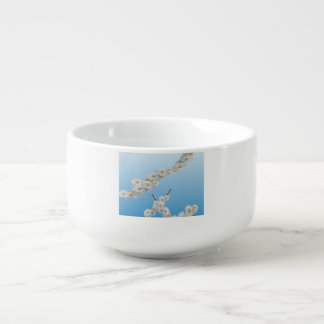 White Cherry Blossoms Soup Bowl With Handle