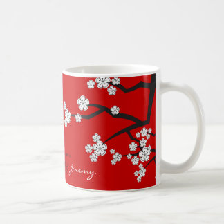 White Cherry Blossoms Zen Sakura Asian Wedding Mug