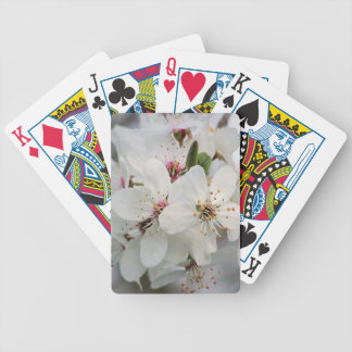 White Cherry Floral Bicycle Playing Cards