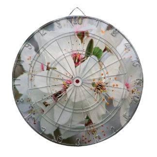 White Cherry Floral Dartboard