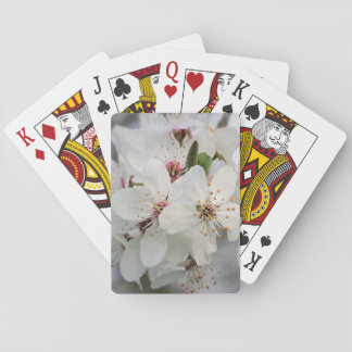 White Cherry Floral Playing Cards