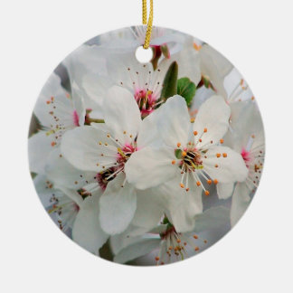 White Cherry Floral Round Ceramic Decoration