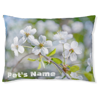 White Cherry Flower Pet Bed