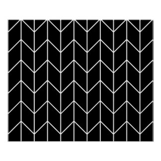 White Chevron Black Background Modern Chic Poster