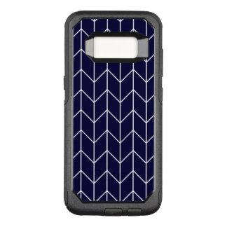 White Chevron on Navy Blue Modern Chic OtterBox Commuter Samsung Galaxy S8 Case