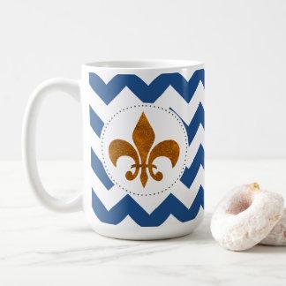 White Chevrons Gold Fleur de Lis Mug