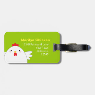 White Chicken on Green Personalizable Luggage Tag