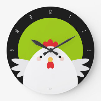 White Chicken on Green Wall Clock