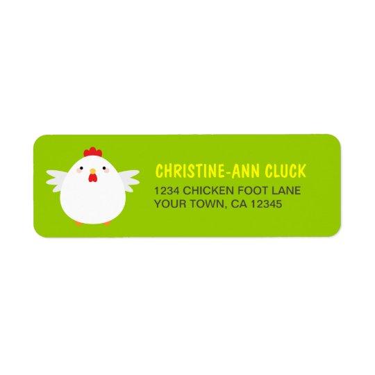 White Chicken Return Address Labels