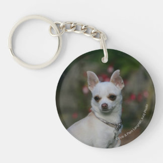 White Chihuahua Double-Sided Round Acrylic Key Ring