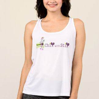 white chix with stix girl logo singlet