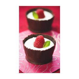 White chocolate mousse dessert canvas prints