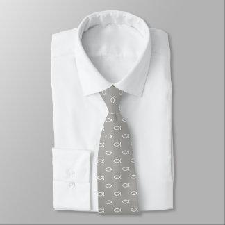 White Christian Fish Symbol Pattern | Grey Tie