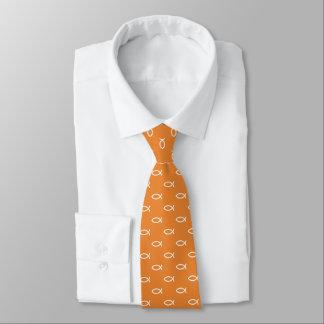 White Christian Fish Symbol Pattern | Orange Tie