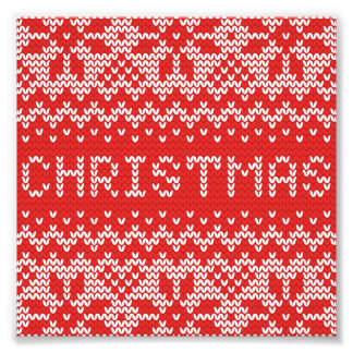 White Christmas Abstract Knitted Pattern Photo Art