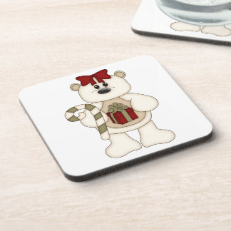 White Christmas Bear Standing/Red Bow Beverage Coasters
