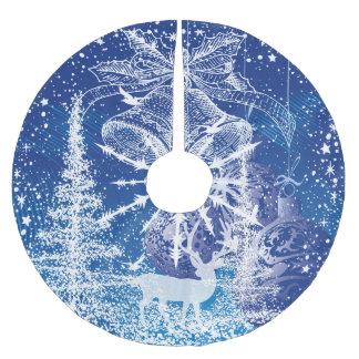 White Christmas Bells & Trees Blue Background Brushed Polyester Tree Skirt