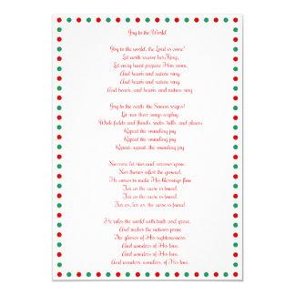 White Christmas Carol Joy To The World Cards 13 Cm X 18 Cm Invitation Card