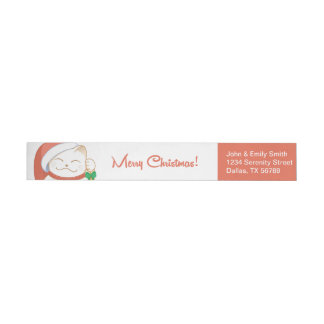 White Christmas Cat in a Red Hat Wraparound Return Address Label