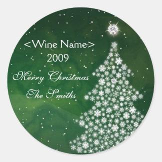 White Christmas Diamond Wine Label Round Sticker