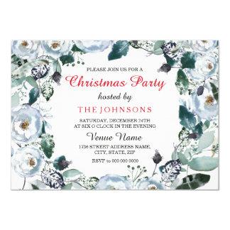 White Christmas Elegant Floral Xmas Party Invite